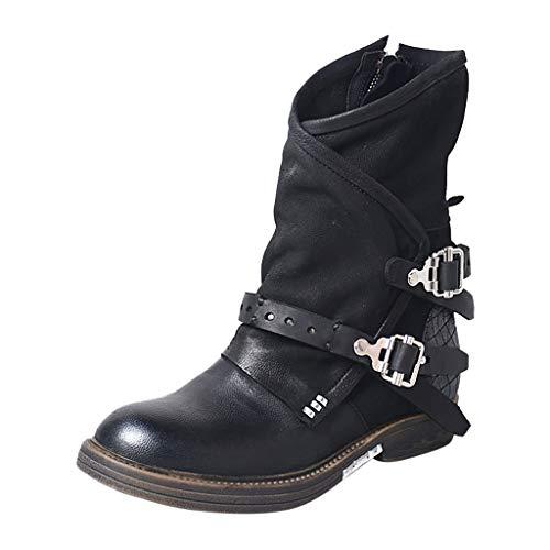 Otoño e Invierno Cinturones Hebilla Botas Martin Mujer Botas de tacón bajo Botas Bajas Señoras Botines Bootie Zapatos Planos MEIbax