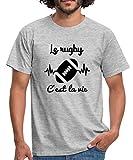 Le Rugby C'est La Vie T-Shirt Homme, S, Gris chiné