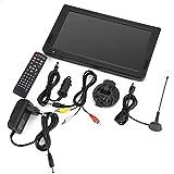 Garsent TV Digital portátil de 10 Pulgadas,TV analógica Resolución de 1024x600 TV portátil Recargable con Encendedor de Cigarrillos