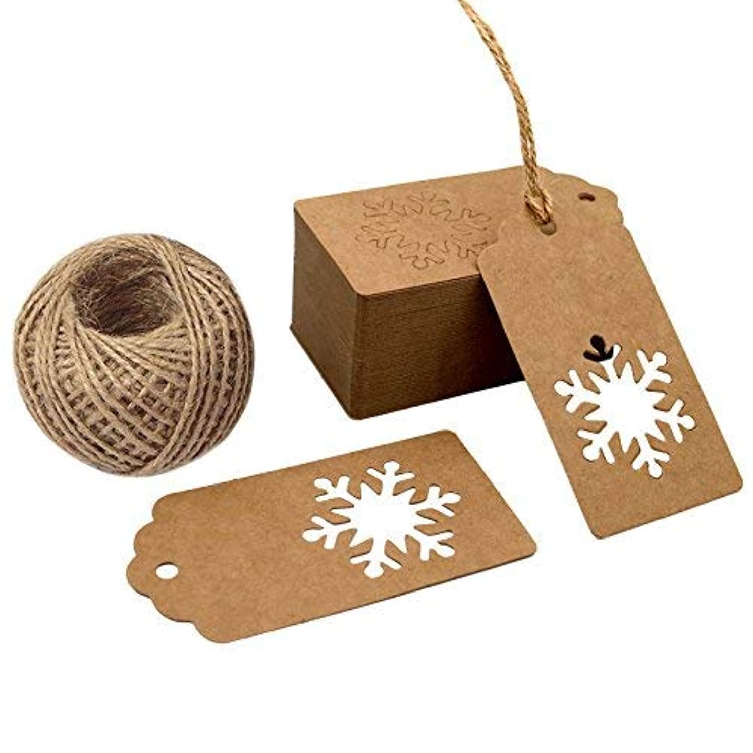 100 PCS Christmas Gift Tags with 100 Feet Natural Jute Twine,Kraft Paper Tags Perfect for Christmas Gift Wrapping Packaging (Brown)