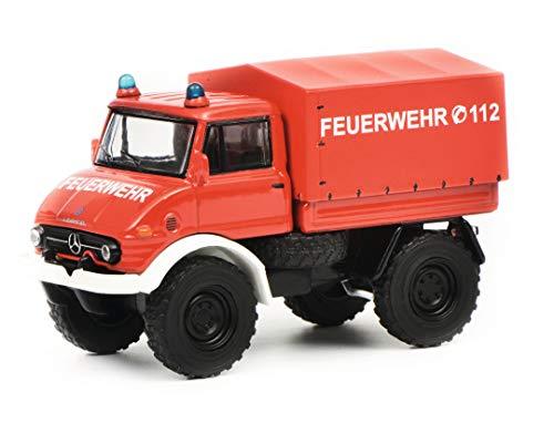 Schuco 452017300 452017300-Mercedes Benz Unimog U406 Feuerwehr 1:64, Modellauto, Modellfahrzeug, rot