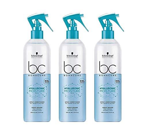 3x 400 ml Schwarzkopf Bonacure Hyaluronic Moisture Kick Spray Conditioner XXL