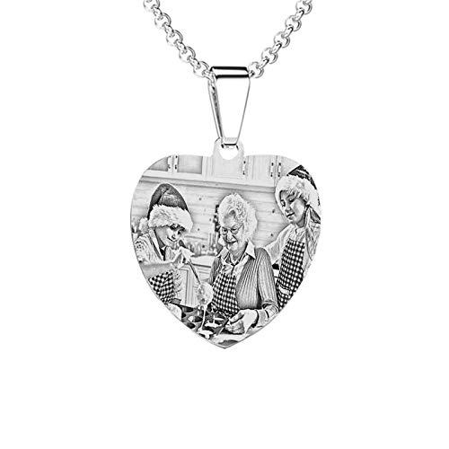 Collar personalizado con placa de identificación Collar colgante tallado personalizado Collar con foto impresa para padre(Plata 24)