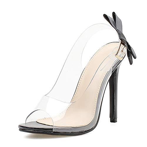 LWYY Damen Böhmische Sandalen, Frauen Sandalen Sexy Mode Schmetterling-Knoten Klar Stilettos Slingback PVC Sandalen Brautkleid Pumps Schuhe Party Straße Schießen, 40