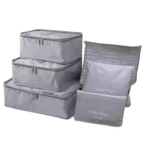 Kleidertaschen Set 6 Teilig Koffertaschen für Reise Packing Cubes Kofferorganizer Packtaschen Set Packwürfel für Rucksäcke Koffer Reisegepäck Handgepäck Backpack mit Kulturbeutel Wasserdicht Grau