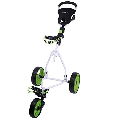 Caddymatic Junior Golf Cart - 3 Wheel Folding Cart for Kids- White/Green