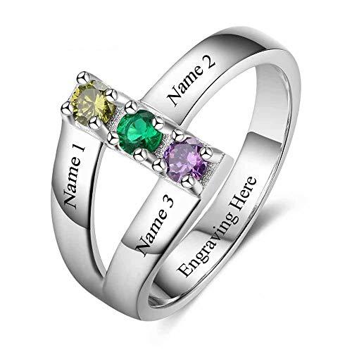 Cicik 3 Stein Mütter Ring mit 3 Kindernamen Sterling Silber Mutter Birthstone Ring für Großmutter Tochter