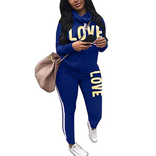 Raylans Damen Mode Streifen Trainingsanzug Frauen Lange Ärmel Sweatshirt + Lange Hose Sportswear 2 Stück Set Sport Outfit