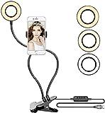 Lampe de lecture à clip LED 7 W avec pince pour livre, lampe de bureau, lampe de soin des yeux, couleur chaude et froide [Classe énergétique A+] (lumière de remplissage en direct)