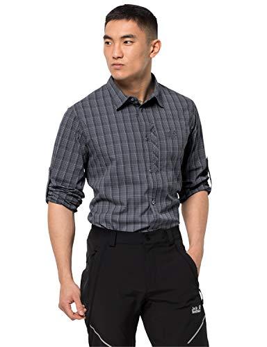 Jack Wolfskin Herren Rays Flex Shirt M schnelltrocknendes Outdoor Hemd Langarm, Ebony Checks, XXL