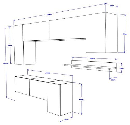 FUTURE 5 Moderne Wohnwand, Exklusive Mediamöbel, TV-Schrank, Neue Garnitur, Große Farbauswahl (RGB LED-Beleuchtung Verfügbar) (Weiß MAT base / Weiß HG front, Weiß LED) - 2