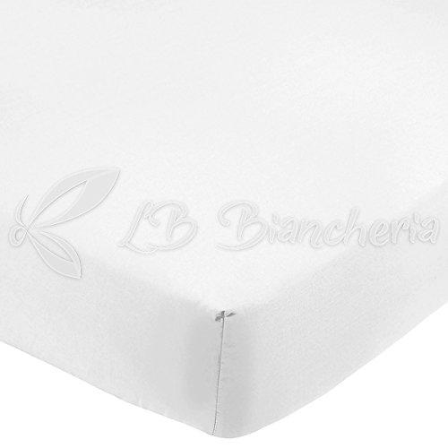R.P. Lenzuolo Sotto Con Angoli In 100% Cotone Tinta Unita Per Lettino Montessori, Cm 70X160 - Bianco