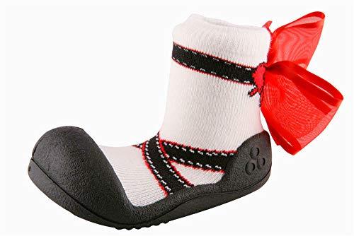 [Attipas] AB03-Black [ バレエ [アティパス ] ベビーシューズ L(12.5cm):3.ブラック/かわいいベビーシューズ 滑り止め 公園遊び 出産祝い プレゼント あんよの練習 保育園靴 ソックスシューズ プレシューズ 室内履き 女