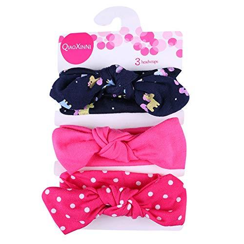 Allence 3 unidades de cinta para el pelo suave de algodón para niña, ideal como regalo para bebé multicolor Talla única