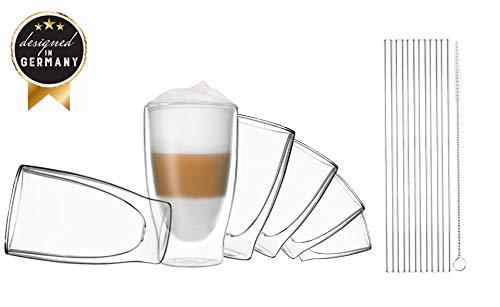 Duos Thermoglazen met glazen drinkrietjes, 400 ml, borstel, dubbelwandige glazen met zweefeffect en glazen rietjes