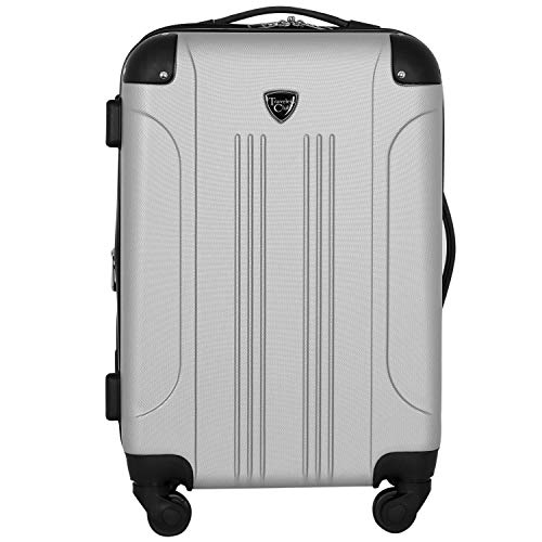 Travelers Club Chicago Hardside Expandable Spinner Luggage, Silver, Carry-On 20-Inch