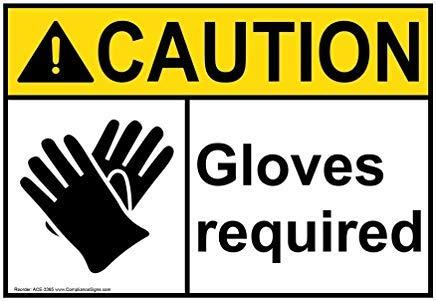 ANSI CAUTION PPE - Handschoenen Info in het Engels Metalen waarschuwingsborden, Privé bord, Tuin hek Yard Sign