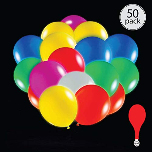 50 pack mix color LED light up 7 color flashing round balloons. Premium latex. Lights 12-24 hours. Glow in the dark. Great supplies decorations for wedding, birthday parties, dance party. Helium & Air. (Globos para fiestas)