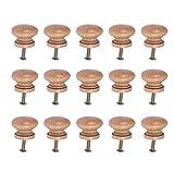 SUPVOX Pomos de madera para armarios, muebles, cajones, tiradores con tornillo para cafeterías, hoteles, restaurantes, decoración del hogar (estilo pequeño) 15 unidades