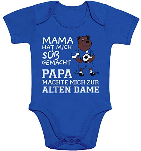 Shirtgeil Herthaner Fan Artikel - Papa machte Mich zur Alten Dame Baby Body Kurzarm-Body 0-3 Monate Blau