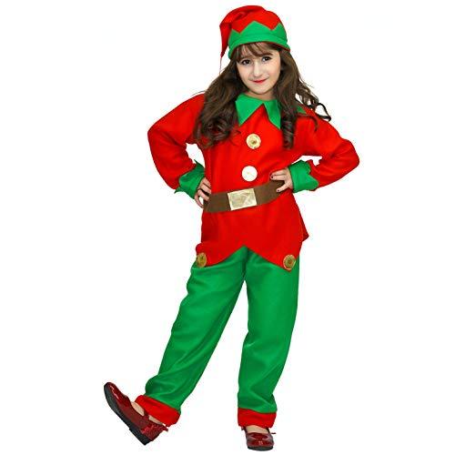SEA HARE Disfraz de Elfo de Navidad para niña (L:10-12 años)