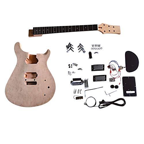 Coban Guitarras DIY kit de guitarra PR80 caoba cuello y cuerpo con chapa de arce Birdseye Chrome Hardware Set en cuello sin soldadura