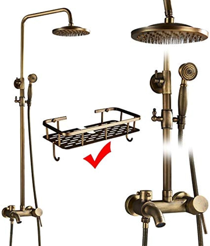 LWSFZAS Antique Brass Duscharmaturen Set Commodity Regal und Haken Dual Griffe Wandmontage Badewanne Brausebatterien mit SchwenkauslaufAntique Brass C02