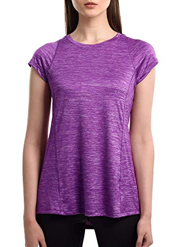 SPECIALMAGIC Lauf Shirt Damen Kurzarm Trainings Basic Sport T-Shirt Rundhals Lila XXL