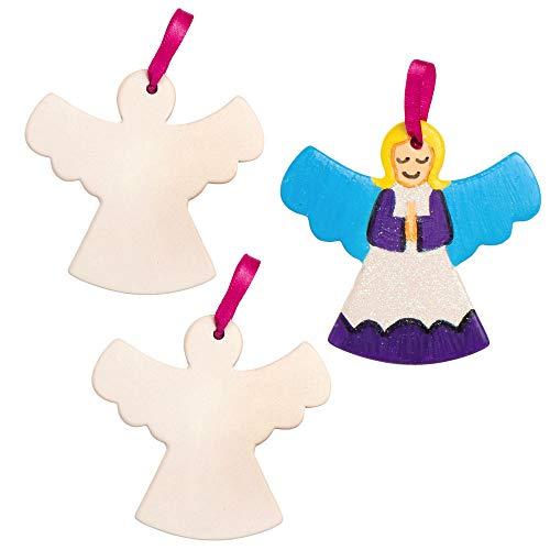 Baker Ross AX387 Engel Keramik Anhänger - 5 Stück, Künstler- Und Bastelbedarf Für Kinder Zum Basteln Und Dekorieren Zur Weihnachtszeit