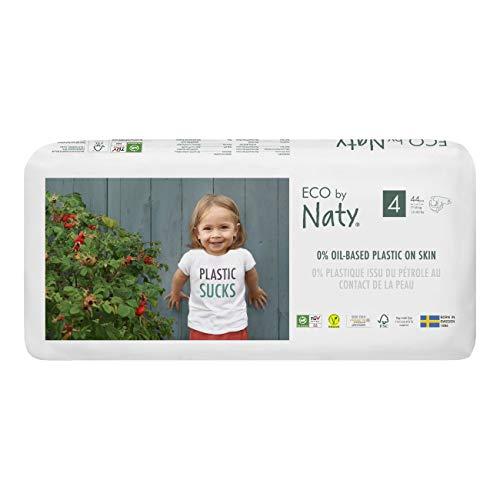 Eco by Naty, maat 4, 88 luiers, 7-18 kg, premium plantaardige bio-luiers met 0% plastic op de huid