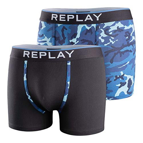Replay Herren-Boxhershort Camouflage, 2er Pack, Camouflage / Blau, XL