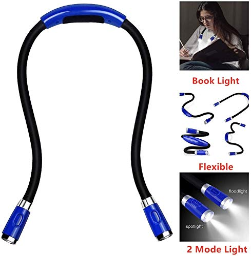 luz lectura libros LED recargable abrazo luz brillante cuello lectura luz, Luces de libro para leer en la cama, luz de punto con 4 brillos ajustables, 2 brazos flexibles flexibles, cable USB incluido