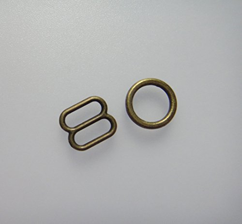 Lyracces Wholesale Lots 200pcs Metal Rectangular Figure 8 Shape with 0 Shape Lingerie Adjustment Slider and Rings for Bra Strap Apparel Holder Findings (8mm 5/16in, Bronze)