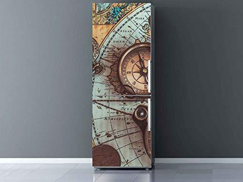 Oedim Vinilo para Frigorífico Mapamundi, Brújula y Reloj Antiguos 200x70cm | Adhesivo Resistente y Económico | Pegatina Adhesiva Decorativa de Diseño Elegante