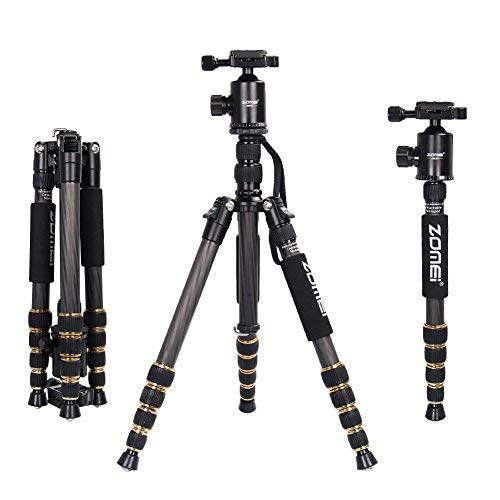 ZOMEi Z669C Portable Carbon Tripod Monopod Kit & Ball Head Compact for Canon Sony,...