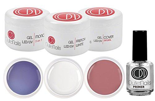 Kit de UV Gel 3 Geles de 15ml + Primer 15ml para uñas de gel / 1 x UV/LED Gel 3 en 1 Trifasico + 1 x UV/LED Ge French Blanco + 1 Gel UV/LED Cover Natural + 1 Primer 15ml