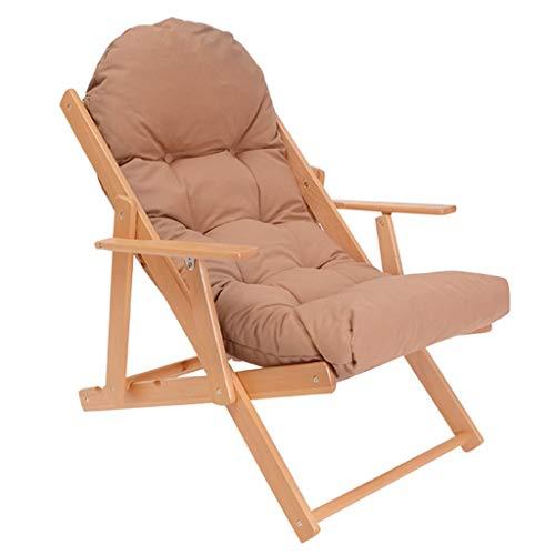 Chaise Pliante en Bois Canapé de Jardin Chaise Longue avec Coussin éponge à Haut Rebond Chaise Longue de Jardin Chaise de terrasse Chaise de Jardin (Couleur : Kaki)