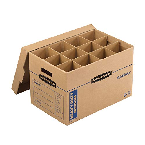 Bankers Box SmoothMove Heavy-Duty Dish and Glass Moving Kit, 1 Box, Box Dividers, Cushion Foam, 12 x 12.25 x 18.5 Inches, 1 Pack (7710302), Brown