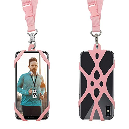 Handy Smartphone Telefon Lanyard Strap, Universal Fall Abdeckung Halter Lanyard Halskette Handschlaufe mit ID Card Slot für iPhone X 8 7 6 S 6 Plus Galaxy S7 S6 Huawei P10 P9 (Rose)