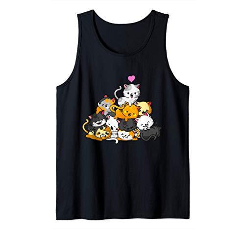 Gato Lindo Gatito Pila Gatos Anime Kawaii Neko Regalo Camiseta sin Mangas