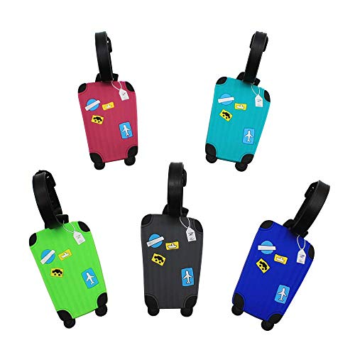 Voarge Luggage Tags, Pack of 5 Luggage Tags with Name Plate, Colourful Airplane Luggage Tag Made of Silicone Luggage Tag Against Lost, Random Colour 8.5 cm x 5.5 cm