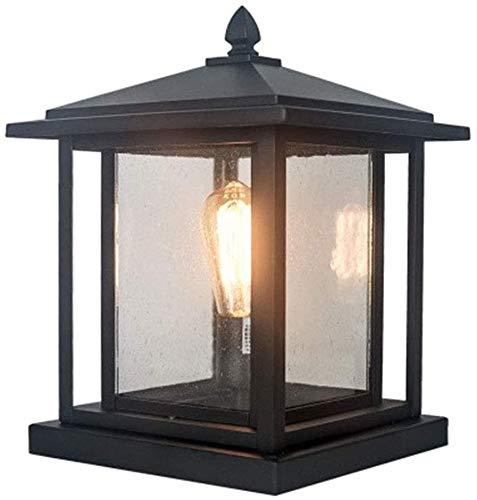 Raelf Retro E27 Outdoor Lamppost Lamp Base Light Outdoor Path Lights Outdoor Lights Made Of Aluminium And Glass Lampshade Column Lamp Black Outdoor Patio Fence Villa Outdoor Column Light Lighting 23.5