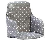 Messy Me- Coussin d´assise Chaise haute - Toile cirée - Nettoyage facile (Gris étoilé)