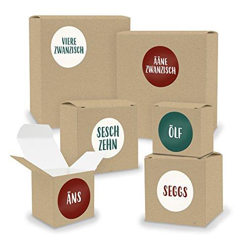 DIY itenga Adventskalender Set V02 zum Selberbefüllen 24 Schachteln Quader und Würfel gemischt BRAUN Kraftkarton + ZahlenSticker (Motiv Z27 Saarländisch)