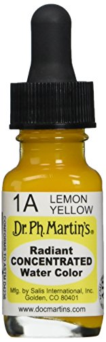 Dr. Ph. Martin's Radiant Concentrated Water Color (1A) Watercolor Bottle, 0.5 oz, Lemon Yellow, 1 Bottle