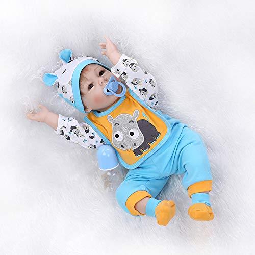 RoyalDoll Reborn Baby Dolls Boy Vinyl Silicone Baby Doll Eyes Open Realistic Lifelike Handmade 22 Inch Real Life Newborn Baby Boy Wear Gray Puppy Pattern Bib