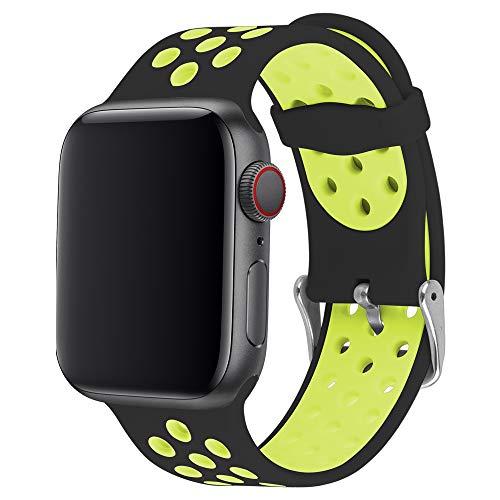 ANBEY für Watch Armband Silikon 44mm 38mm 42mm 40mm, Soft Silikon Ersatz Armbänder für Watch Serie 5 4 3 2 1,Schwarz und gelb