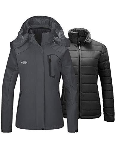 Wantdo Women's Mountain Ski Jacket Windproof Snow Coat with Hood Dark Gray Large