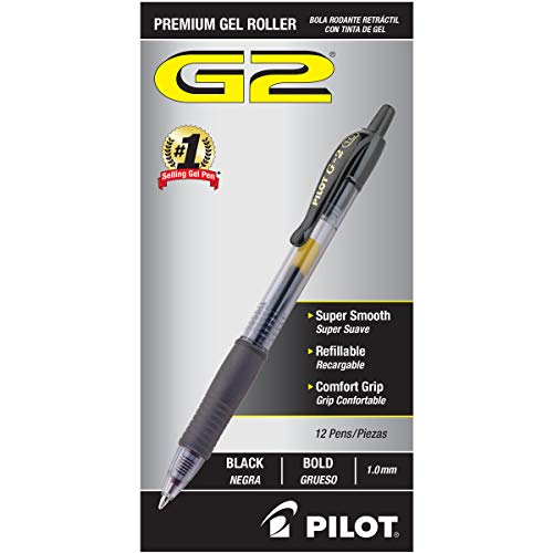PILOT G2 Premium Refillable & Retractable Rolling Ball Gel Pens, Bold Point, Black Ink, 12 Count (31256)
