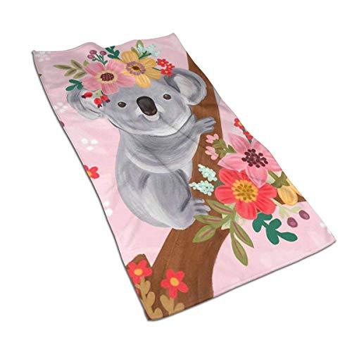 N/Q Koala de Acuarela con patrón de Flores Toalla de Mano...
